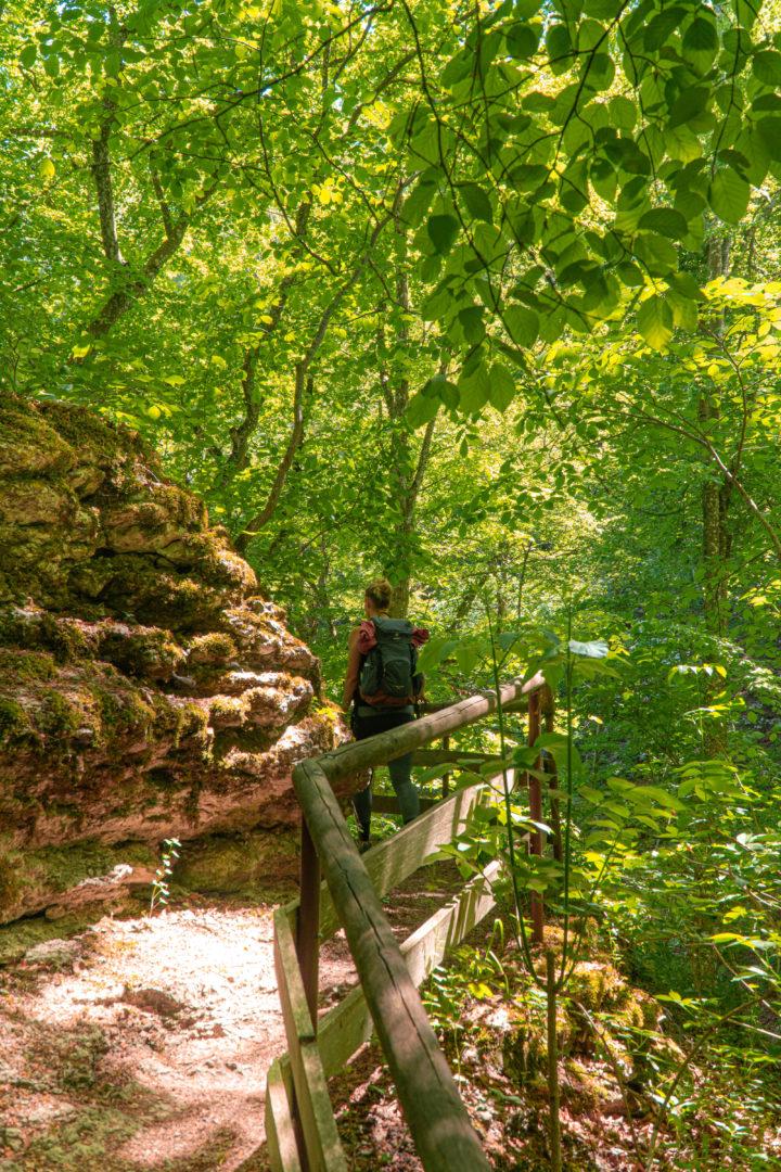 Von der Traufganghütte Brunnental über die Hossinger Leiter, Rundwanderung mit Ausblick über die schwäbische Alb.