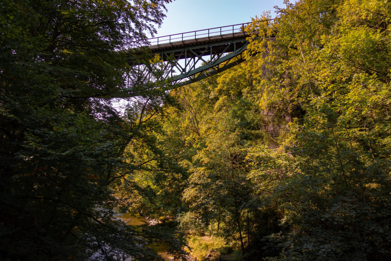 Blick auf die Eisenbahnbrücke der Sauschwänzlebahn.