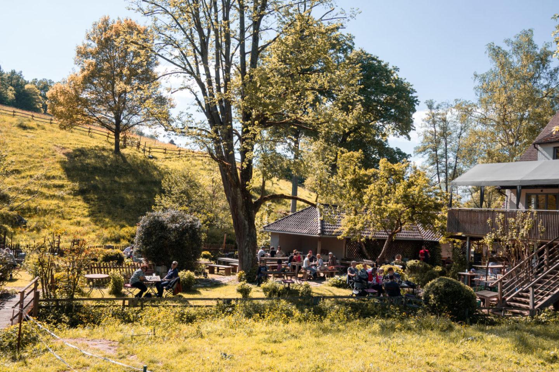 Biergarten und Café bei der Eselsmühle unter großen Bäumen mit Sicht auf Wiesen und Weiden