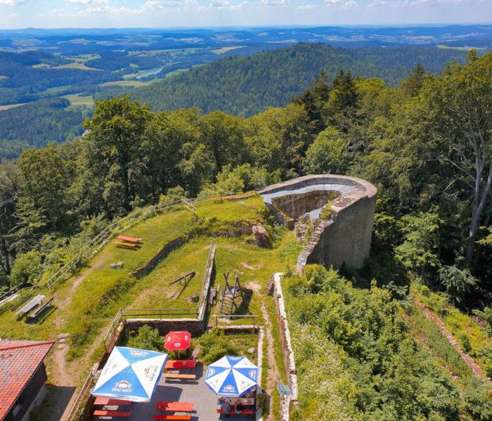 Aussicht vom Turm der Schwarzenburg bei der Schwarzwihrberg hütte.